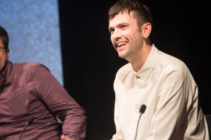 Vevo's Tom Connaughton enjoys a joke with the audience at MusicVidFest 2014